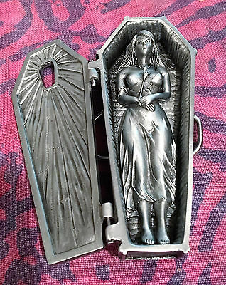 Coffin With Lady Belt Buckle New Movable Vampire Gothic Halloween