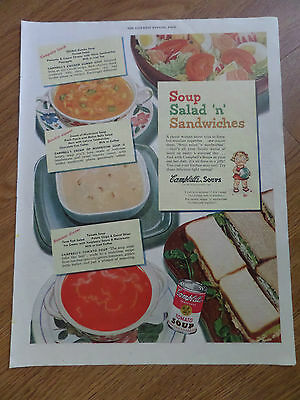 1949 Campbell's Soup Ad Soup Salad 'n' Sandwiches