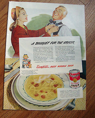 1945 Campbell's Soup Ad  A Bougquet for the Grocer