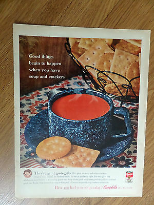 1961 Campbell's Soup Ad Good Things Begin to Happen Soup & Crackers