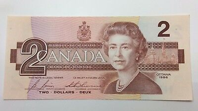 1986 Canada Two 2 Dollars Bill Note Uncirculated Banknote C901
