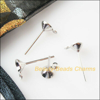 150 New Earring Pins 5x14mm Dull Silver Plated Findings For DIY Connectors