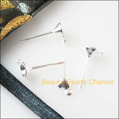 150 New Earring Pins 5x14mm Silver Plated Findings For DIY Connectors