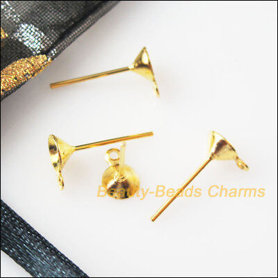150 New Earring Pins 5x14mm Gold Plated Findings For DIY Connectors