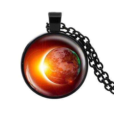 Solar Eclipse Cabochon Pendant Necklace Earth Space Astronomy