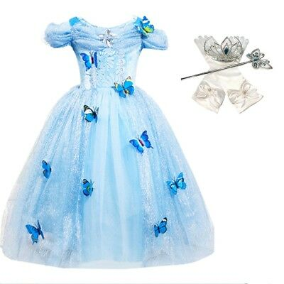 DH Princess Cinderella Butterfly Costume Dress with Cosplay Accessories 3-10 Yrs