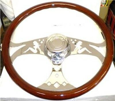 Kenworth Wood & 3 Chrome Spokes 18 Inch Lady Steering Wheel Rig 65023