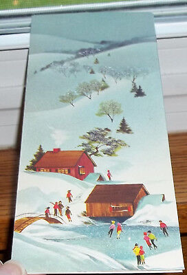 Vintage Glittered 1961 Christmas Card Couples Ice Skating on Old Mill Pond