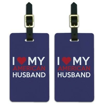 I Love My American Husband Luggage ID Tags Suitcase Carry-On Cards - Set of 2