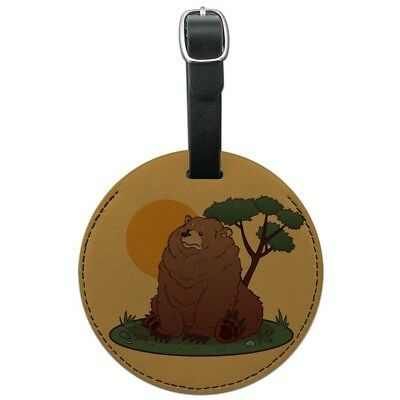 Chubby Grizzly Bear Round Leather Luggage Card Suitcase Carry-On ID Tag