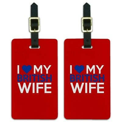 I Love My British Wife Luggage ID Tags Suitcase Carry-On Cards - Set of 2
