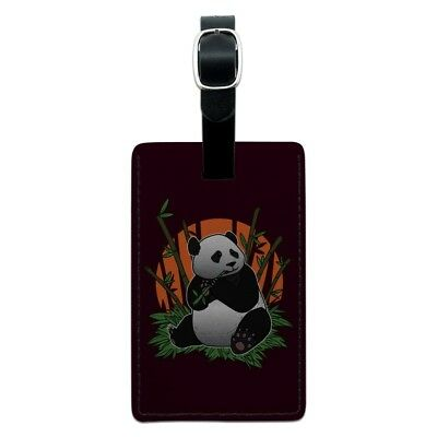 Giant Panda Bear Eating Bamboo Rectangle Leather Luggage Card Carry-On ID Tag