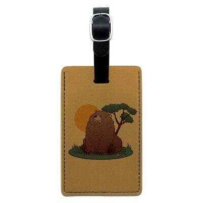 Chubby Grizzly Bear Rectangle Leather Luggage Card Suitcase Carry-On ID Tag
