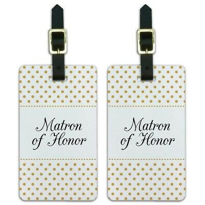 Matron of Honor Wedding Elegant Polka Dots Luggage ID Tags Cards Set of 2