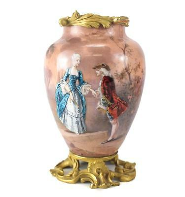 19th Century French Enamel & Gilt Bronze Mounted Courting Figural Scene Vase