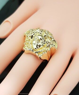 3D  Medusa Head Ring gold plated Steampunk Hip hop  size P 6 TO Z 13 FULL SİZE