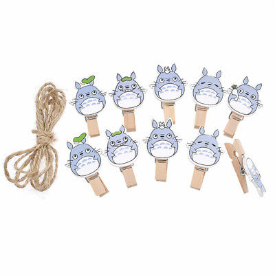 10 Pcs My Neighbour Totoro Clips Wooden Mini Japanese Anime Kawaii Characters
