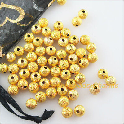 100Pcs Gold Plated Loose Round Ball Copper Brushed Spacer Beads Charms 4mm