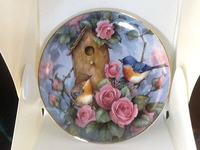 """Royal Doulton bone chine plate """"Settling in"""" blue birds with roses bird house"""
