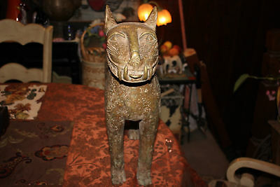 HUGE Antique Chinese Asian Egyptian Bronze Metal Cat Statue-Fang Teeth-#1-Worn