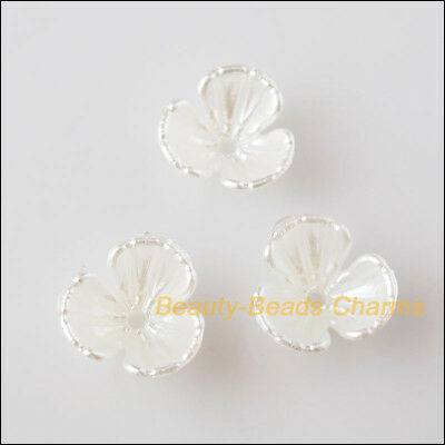 50Pcs White Plastic Acrylic Flower Star Spacer End Beads Caps Charms 10.5mm