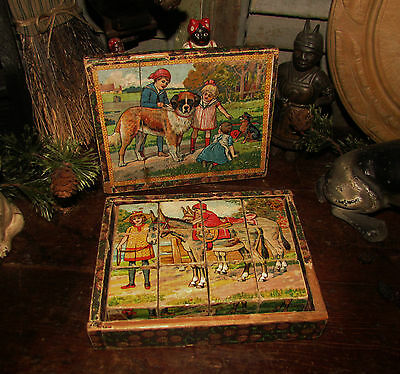 Old Tyme Vtg Antique Victorian Lithograph Wood Blocks Country Puzzle w/ Box Set