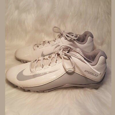 Nike SpeedLax Lacrosse Shoes Size 9 White and Silver/gray