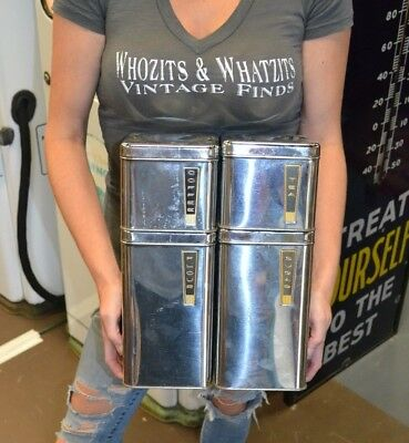 Vtg Aluminum Canister Set By Beauty Ware. True Vintage Silver Stacking Set