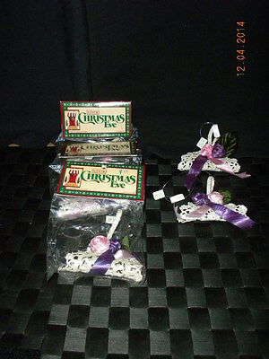Lot/15 Schmid Christmas Eve Lace Ornaments White Baskets W/Pink & Purple Roses