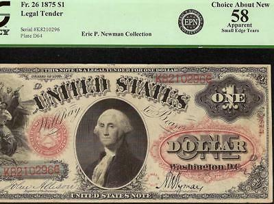 1875 $1 ONE DOLLAR UNITED STATES LEGAL TENDER ORNATE RED SEAL NOTE Fr 26 PCGS 58