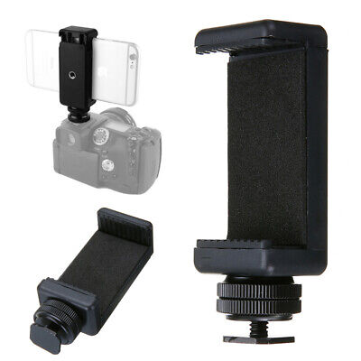 Phone Clip Holder + Hot Shoe Flash Screw Adapter Tripod Camera Mount Converter