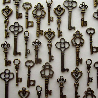 Antique Skeleton Keys Vintage Style Furniture Cabinet Old Lock Copper Lot of 48