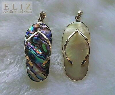 Sterling Silver FLIP FLOP Beach Pendant White Mother of Pearl or ABOLONE Shell