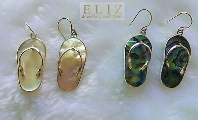 Sterling Silver FLIP FLOP Beach Earrings White Mother of Pearl or ABOLONE Shell
