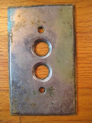 The Perkins Electric Light Switch Push-Button Cover Plate 1903 Antique Vintage