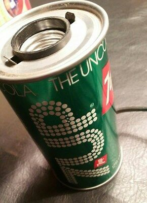 Vintage 7up Metal Soda Can Lamp w/Black light bulb  - WORKS and LOOKS GREAT!