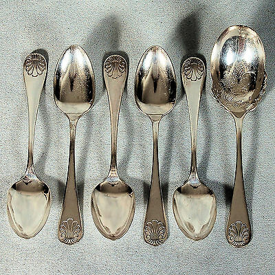 Six Wm. Rogers & Son Triple Plated Serving Spoons - Shell Pattern C. 1900's