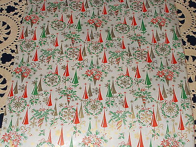 Vtg Christmas 1950 Dept Store Wrapping Paper 100 Feet Gift Wrap Atomic Age Trees