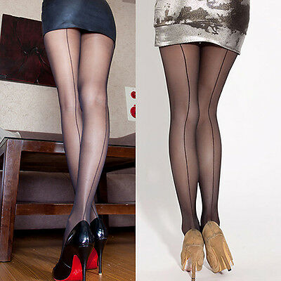 CO_ Sexy Women Sheer Transparent Line Back Seam Tights Stockings Pantyhose Fashi