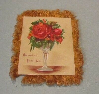 Antique Victorian Era Double Sided Hand Made Easter Holiday Greeting Card Roses