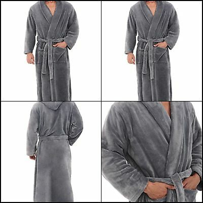 2eefa0bcc5 Alexander Del Rossa Mens Fleece Robe Long Hooded Bathrobe Small Medium Grey