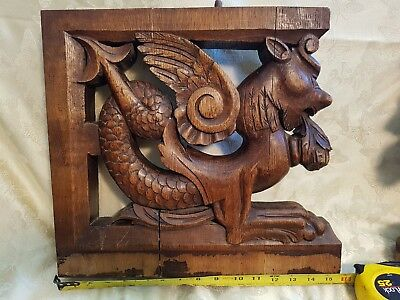 PAIR Antique French wood carved gothic Salvage Dragon winged lion griffin