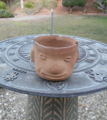 HOTEL DE CORTES MEXICO O.F. PRE COLUMBIAN CLAY POTTERY HEAD ASHTRAY c1950's