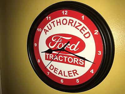 Ford Farm Tractor Barn Store Garage AuthDealer Man Cave Wall Clock Sign