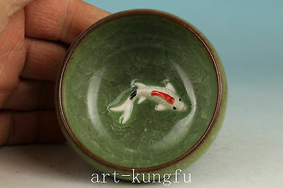 Chinese Ice Crack Porcelain Handmade Carved Fish Wine Tea Cup