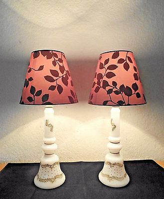 LAMPS A PAIR OF VINTAGE GOLD GILDED MILK-GLASS BELL DRESSER LAMPS w/SHADES CUTE!