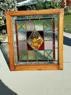 Antique leaded Stained Glass Hand painted Center Original Wooden Window Frame