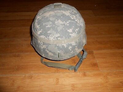 USGI MSA ADVANCED COMBAT HELMET SIZE Medium USED w cover, pads + chin strap