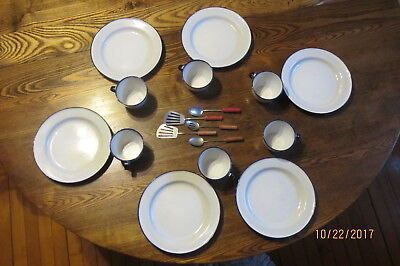 """Child's Vintage Sweden Porcelain Toy Dishes 7"""" Plate&Cup 12 Dishes &5 Utensils"""