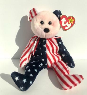 Ty Beanie Baby Babies SPANGLE Pink Red Face Error Authentic Rare 1999 Patriotic